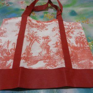 Vtg red & wh pastoral toile shopping tote carryall